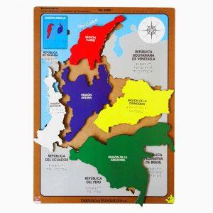 Rompecabezas Mapa Regiones Naturales de Colombia en Braille